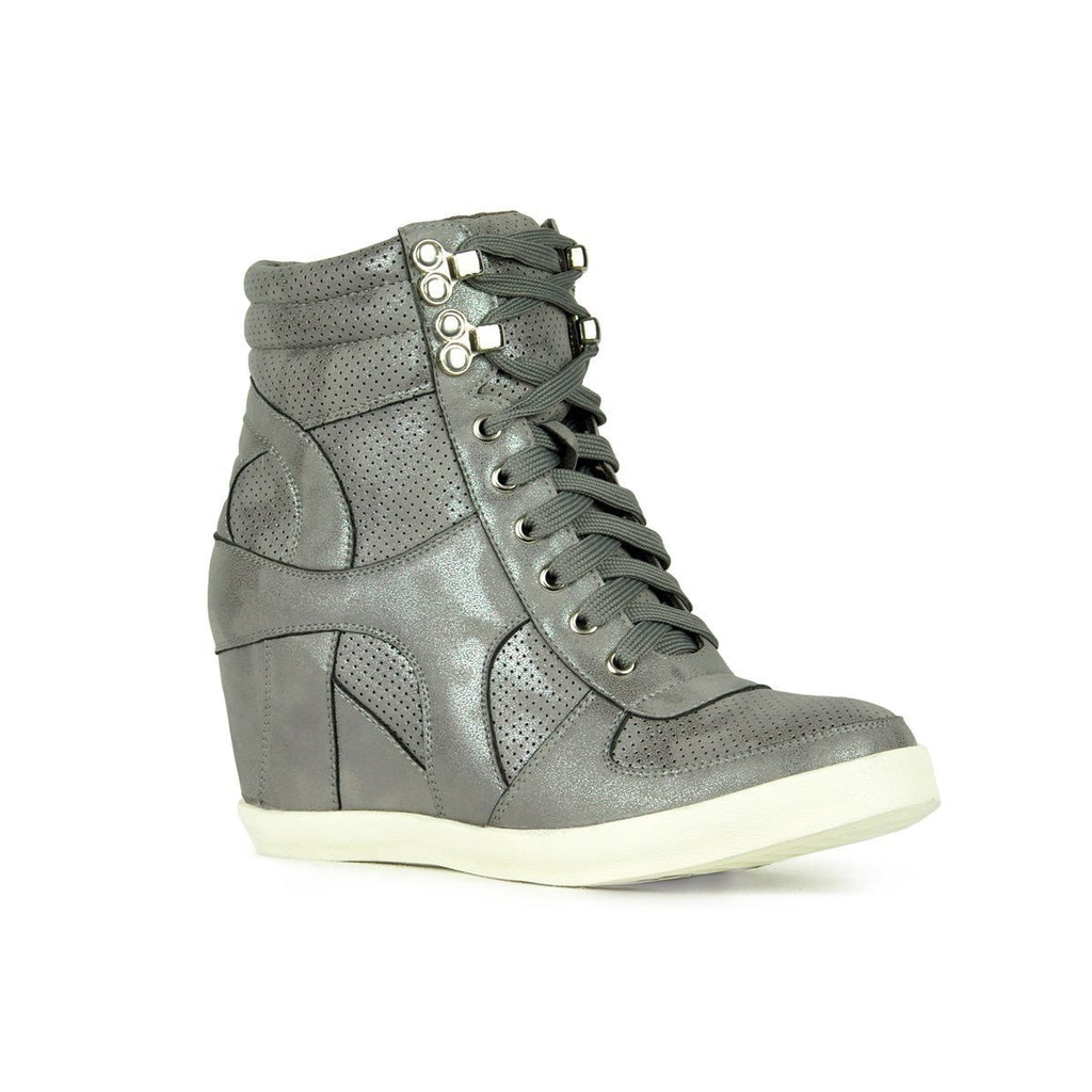 Womens Sporty Metallic Sneaker Wedges - Refresh - Gray / 5.5