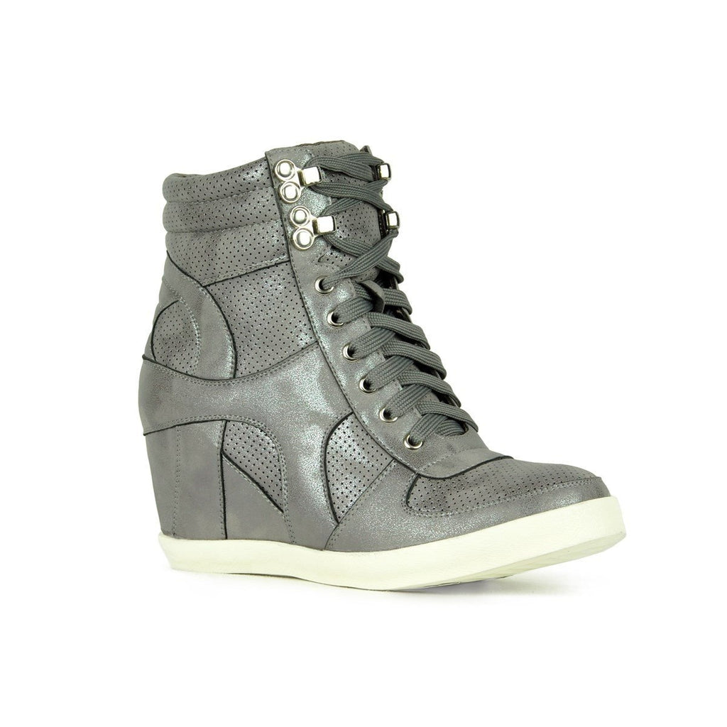 Womens Sporty Metallic Sneaker Wedges - Refresh - Gray / 10