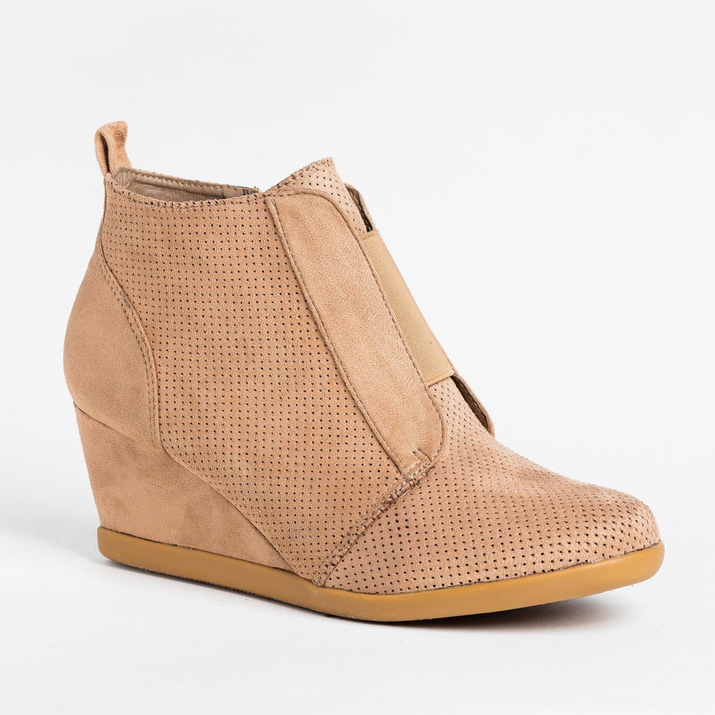 Womens Sporty Pinhole Bootie Wedges - Forever - Taupe / 5