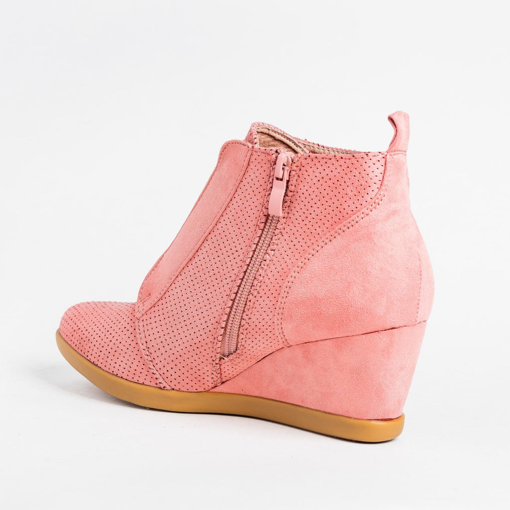 Womens Sporty Pinhole Bootie Wedges - Forever