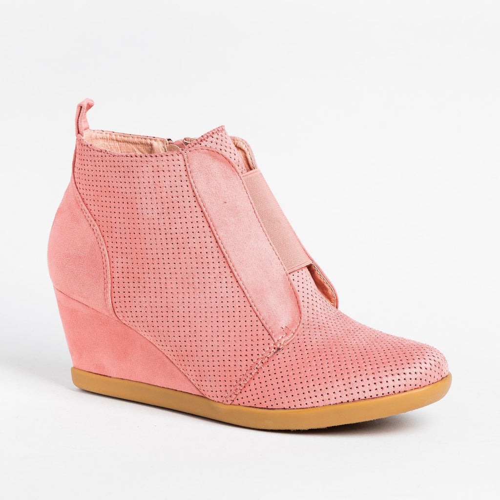 Womens Sporty Pinhole Bootie Wedges - Forever - Dusty Pink / 5