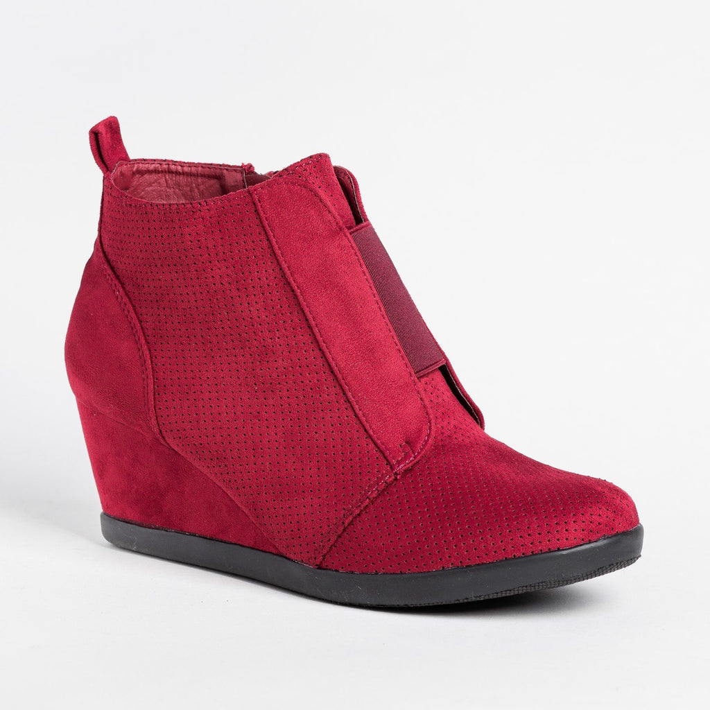 Womens Sporty Pinhole Bootie Wedges - Forever - Burgundy / 5