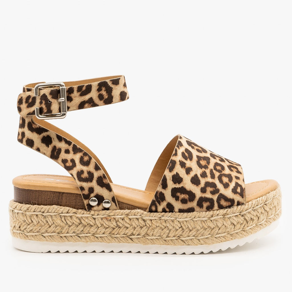 Womens Spotted Espadrille Flatform Wedges - Soda Shoes - Oatmeal Cheetah / 5