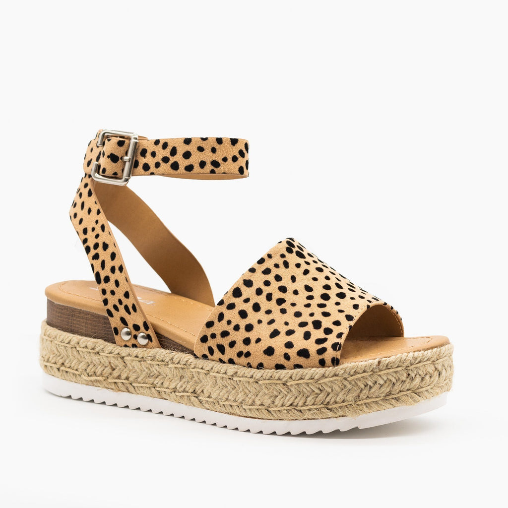 Womens Espadrille Flatform Wedges - Soda Shoes