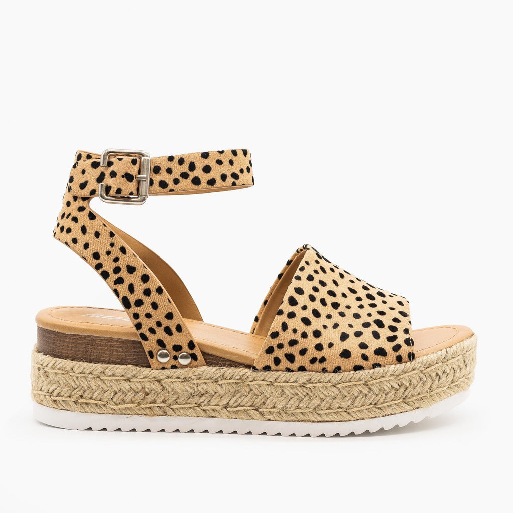 Womens Espadrille Flatform Wedges - Soda Shoes - Leopard / 5