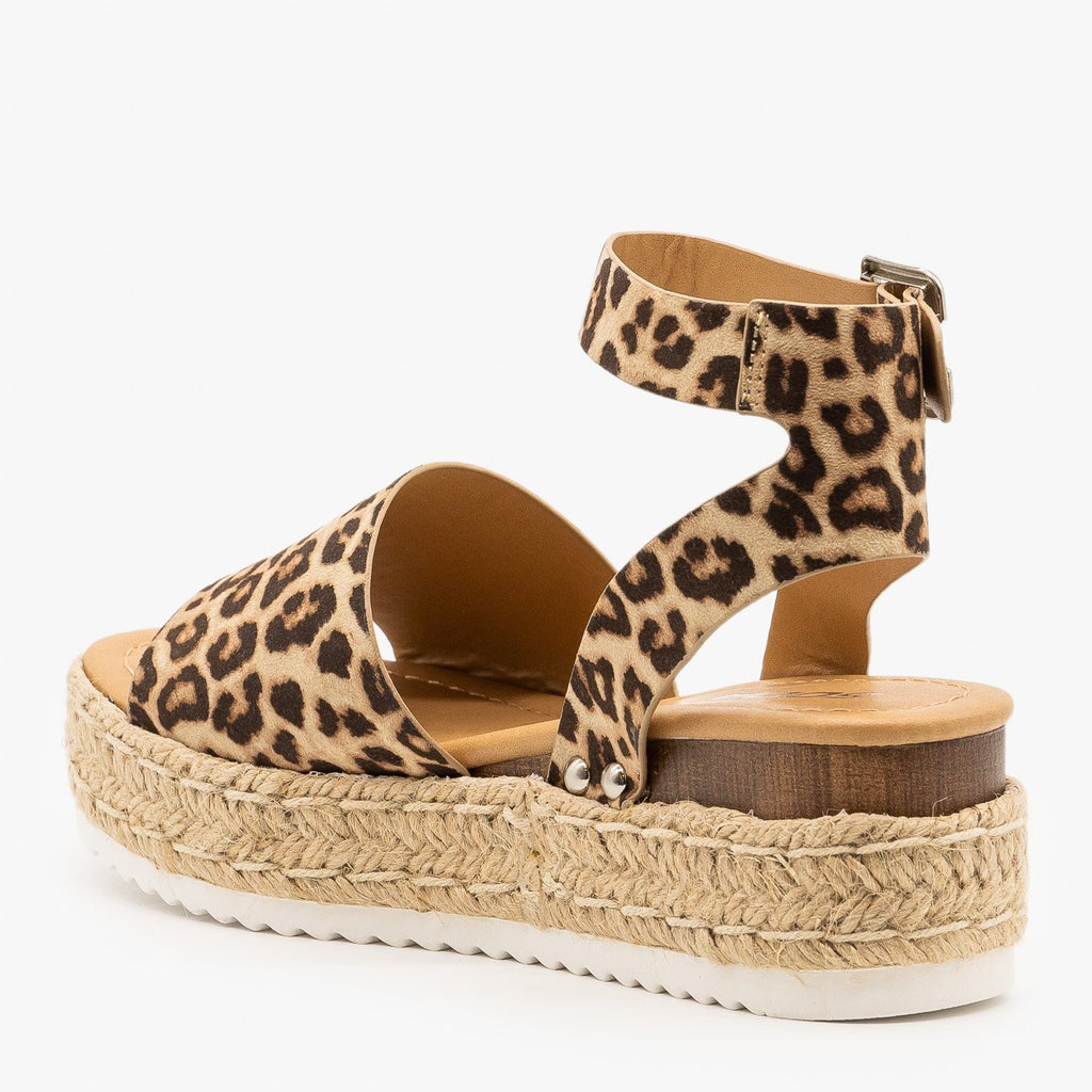 Womens Spotted Espadrille Flatform Wedges - Soda Shoes