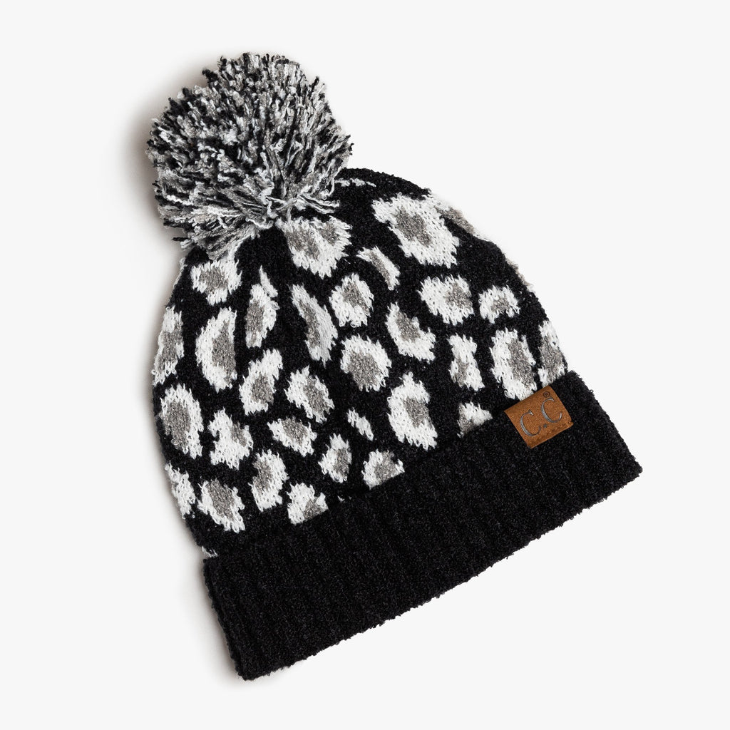 Womens Black Leopard Pom CC Beanie - Shoetopia - One Size / Black