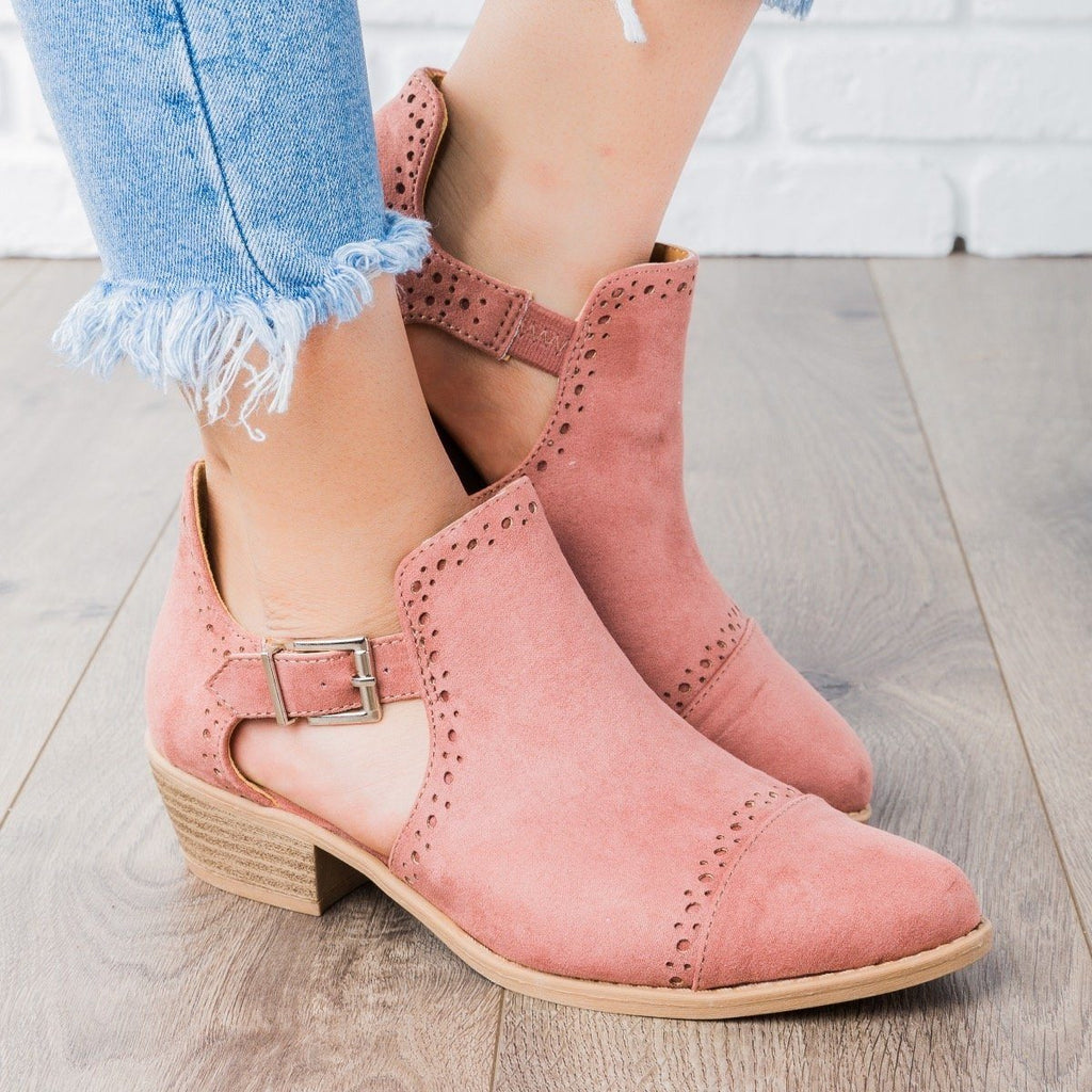 Womens Sprinkle Edged Ankle Booties - Qupid Shoes - Mauve / 5
