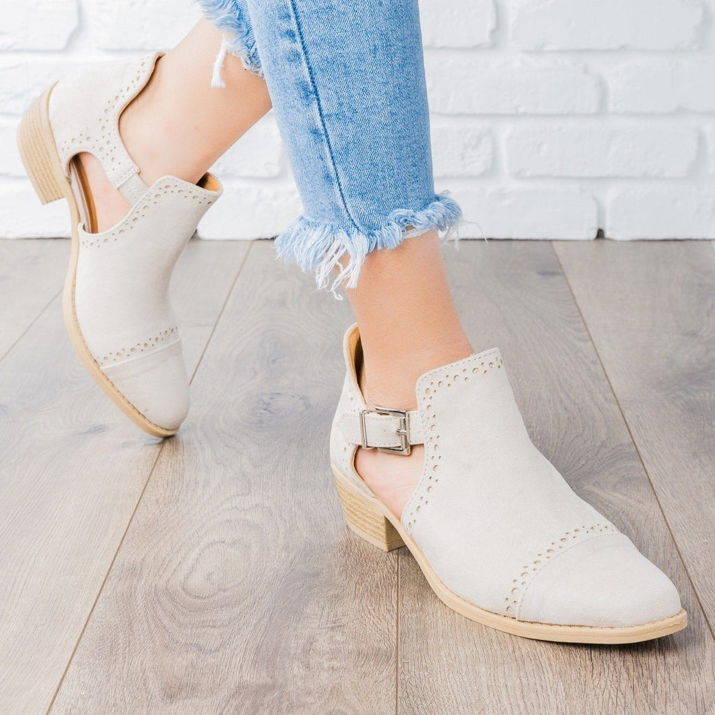 Womens Sprinkle Edged Ankle Booties - Qupid Shoes