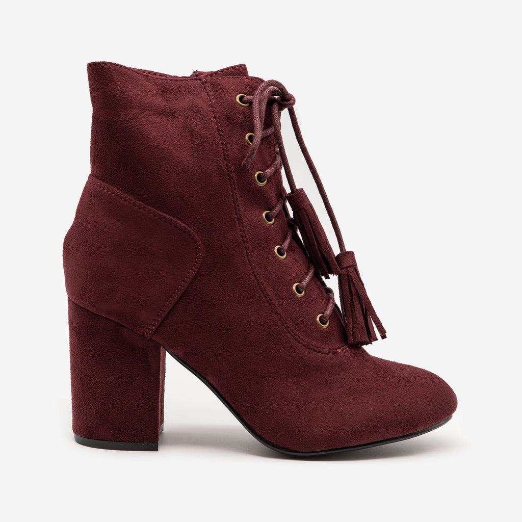 Women's Stacked Heel Lace Up Booties - Nature Breeze - Burgundy / 5