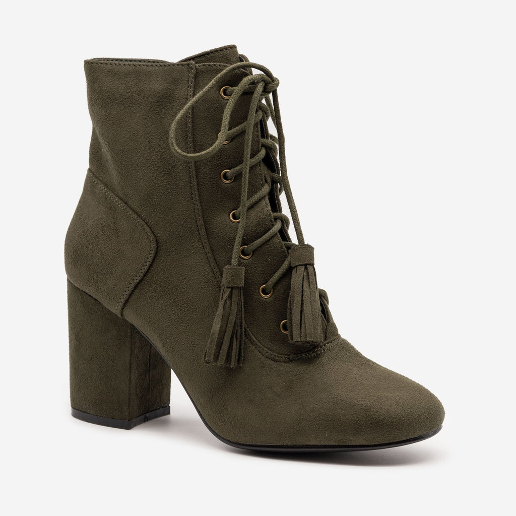 Women's Stacked Heel Lace Up Booties - Nature Breeze