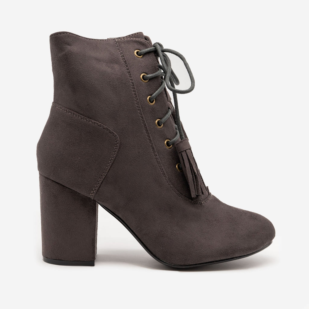 Women's Stacked Heel Lace Up Booties - Nature Breeze - Gray / 5
