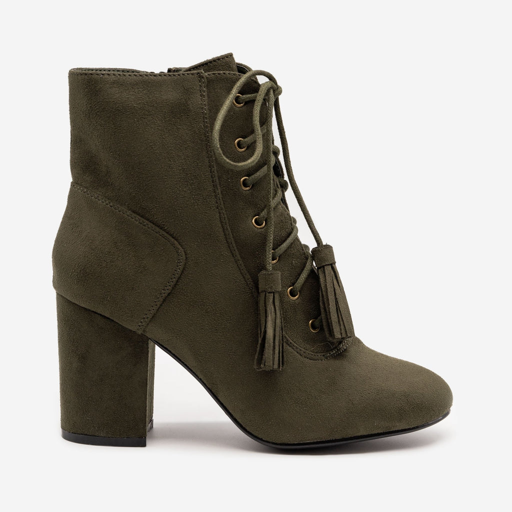 Women's Stacked Heel Lace Up Booties - Nature Breeze - Olive / 5