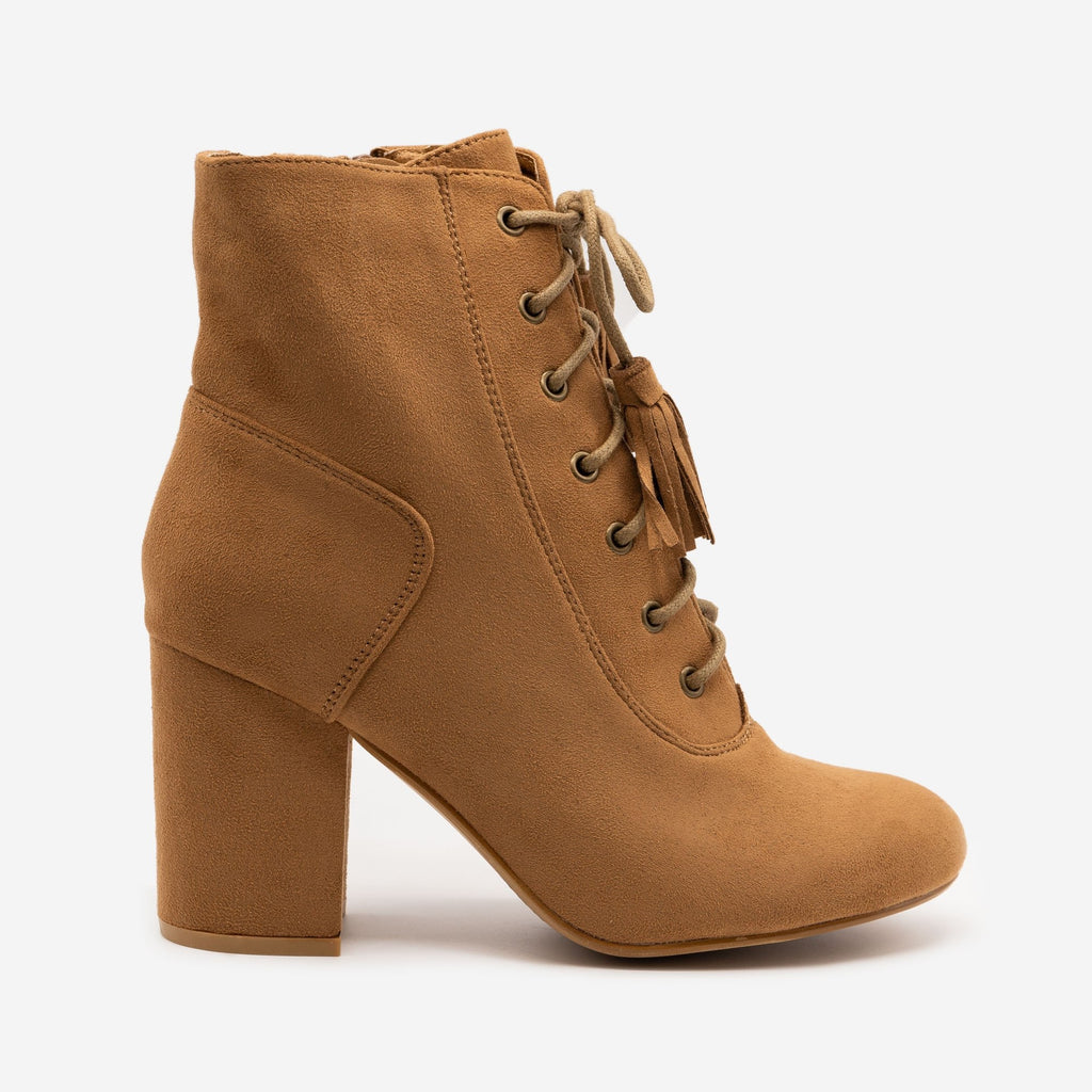 Women's Stacked Heel Lace Up Booties - Nature Breeze - Camel / 5