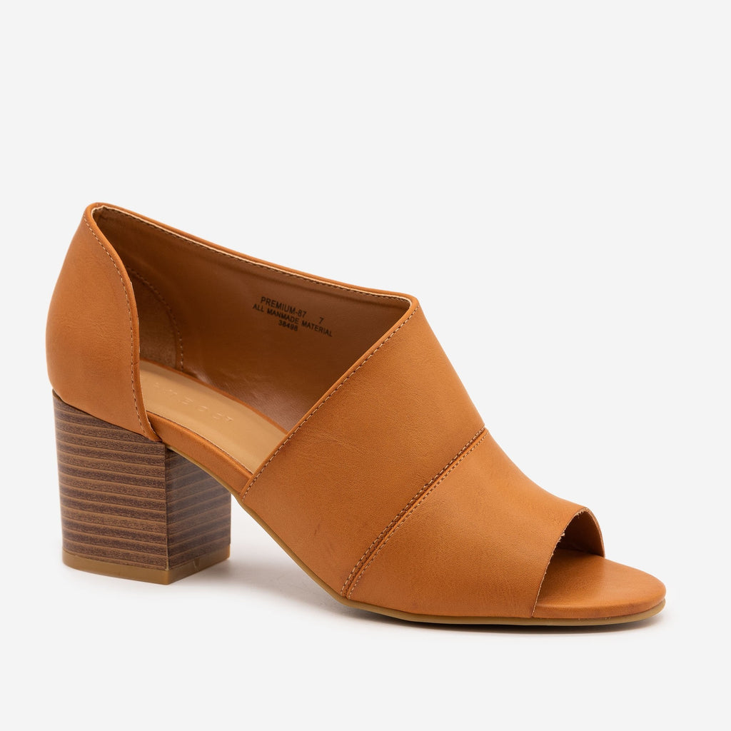 Women's Stacked Heel Open Toe Booties - Bamboo Shoes