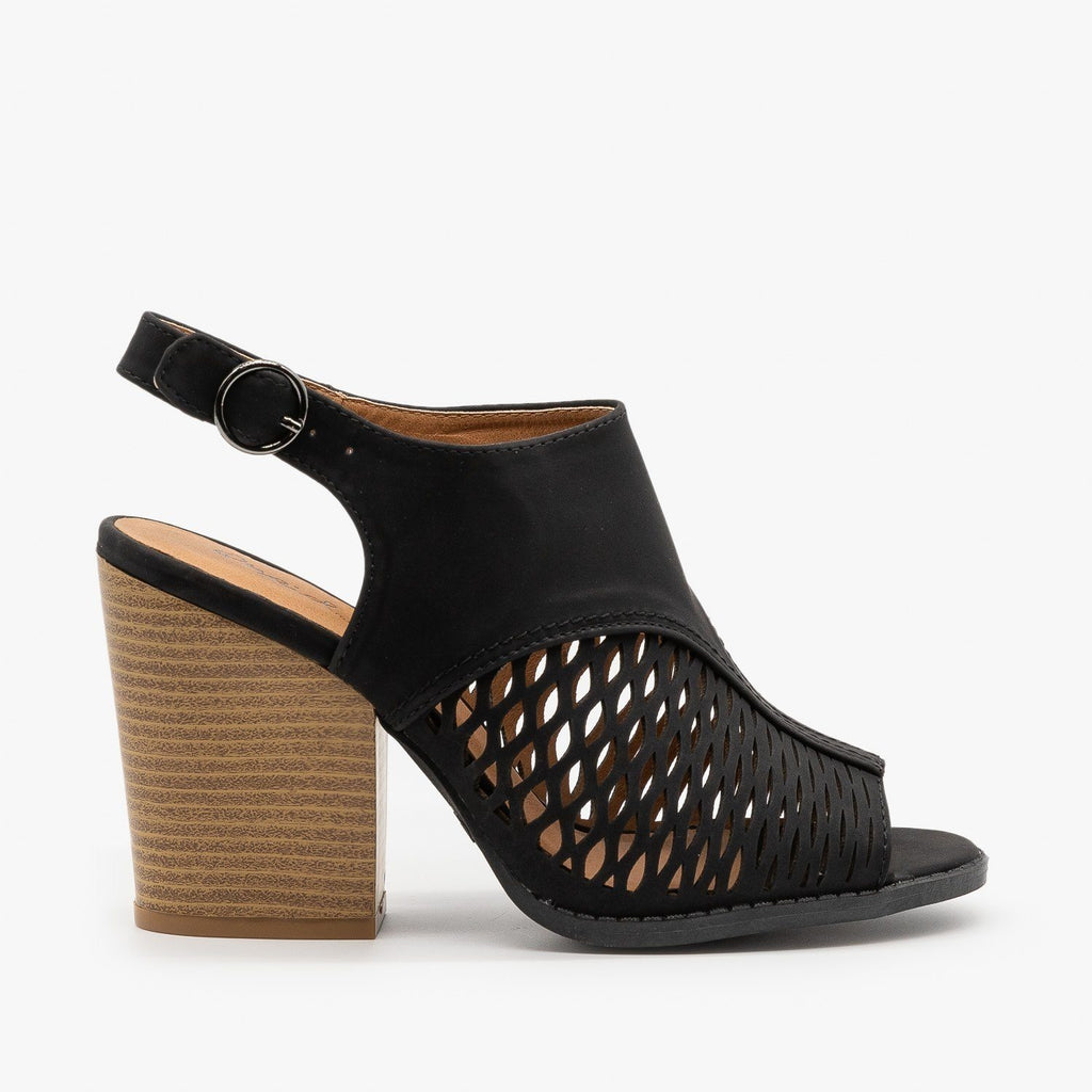Womens Stacked Heel Slingback Sandals - Qupid Shoes - Black / 5