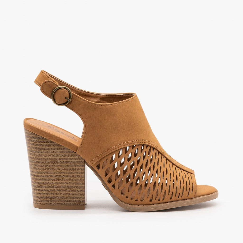 Womens Stacked Heel Slingback Sandals - Qupid Shoes - Camel / 5