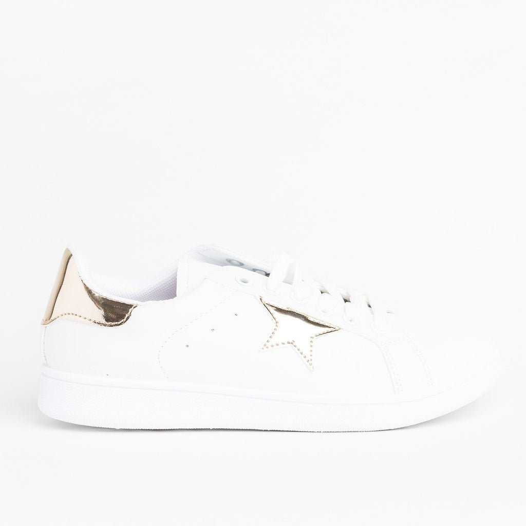 Womens Star-Accented Fashion Sneakers - Qupid Shoes - White Gold / 5