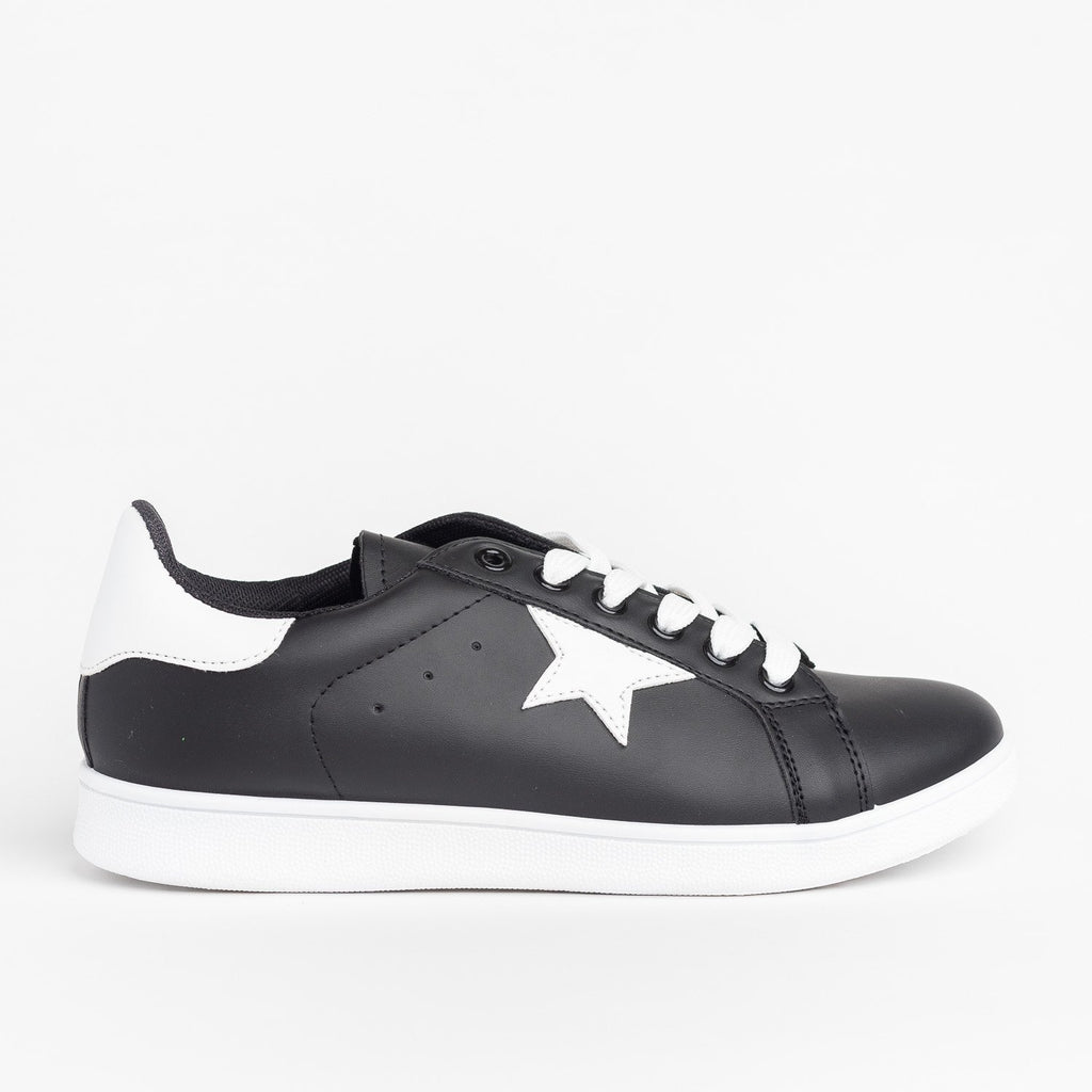 Womens Star-Accented Fashion Sneakers - Qupid Shoes - Black White / 5