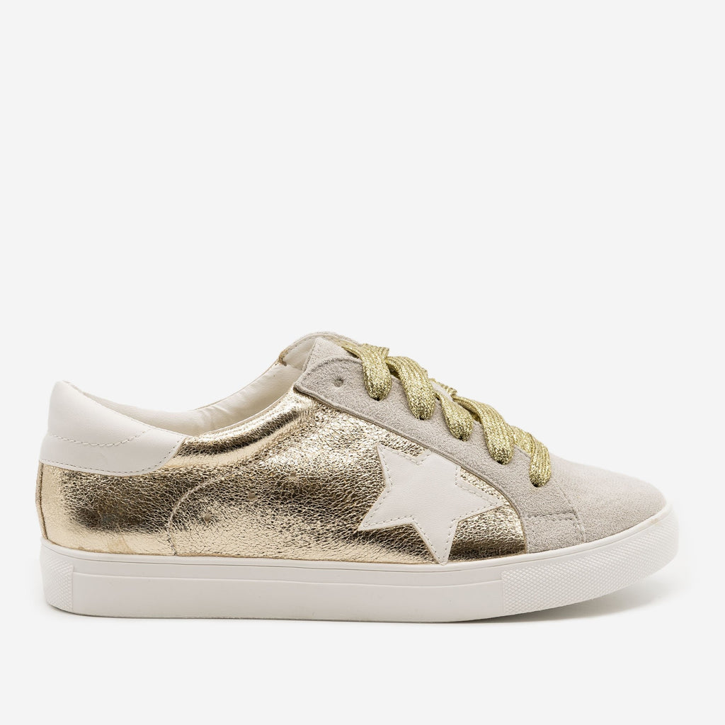 Women's Star Decal Fashion Sneakers - Forever - Gold / 5