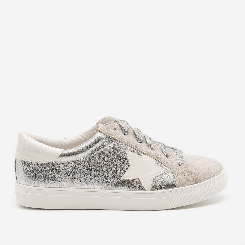 Women's Star Decal Fashion Sneakers - Forever - Silver / 5