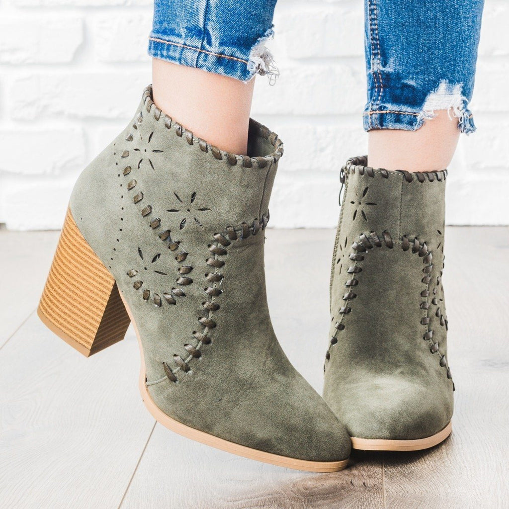 Womens Starry Stitched Heel Booties - ARider Girl - Olive / 5