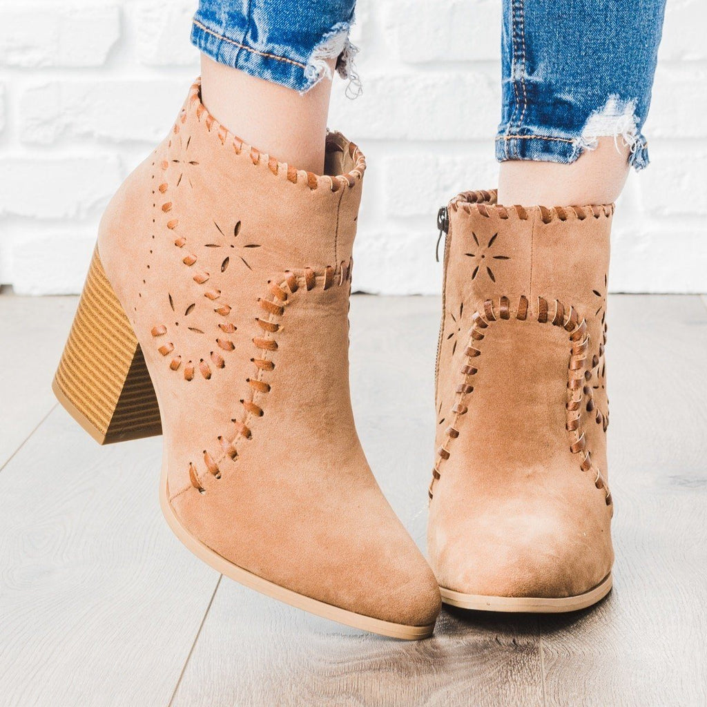 Womens Starry Stitched Heel Booties - ARider Girl - Taupe / 5