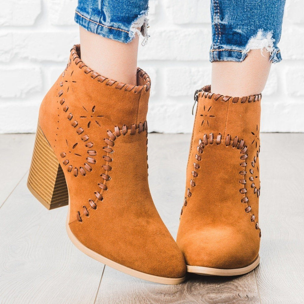 Womens Starry Stitched Heel Booties - ARider Girl - Toffee / 5