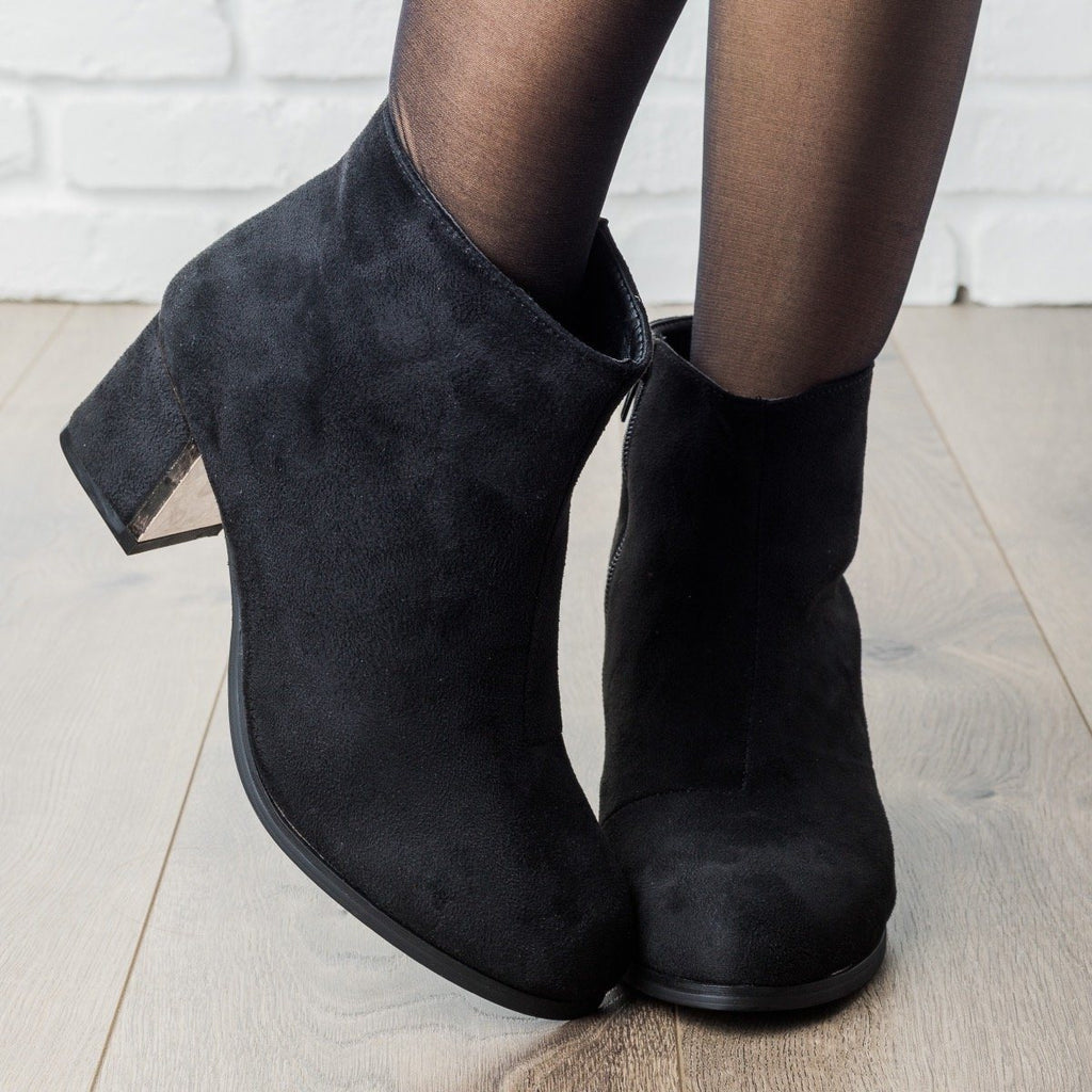 Womens Statement Chunky Heel Booties - Qupid Shoes - Black / 5