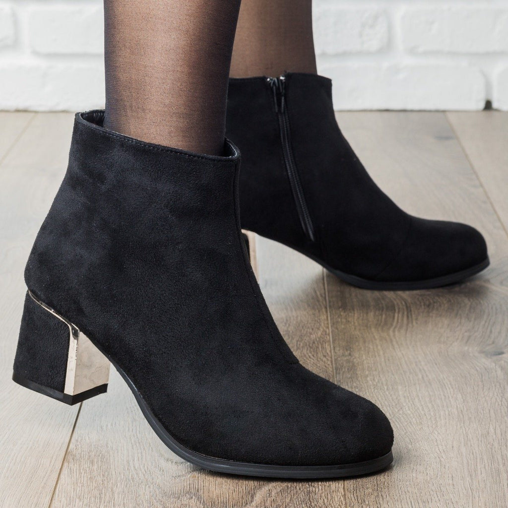 Womens Statement Chunky Heel Booties - Qupid Shoes