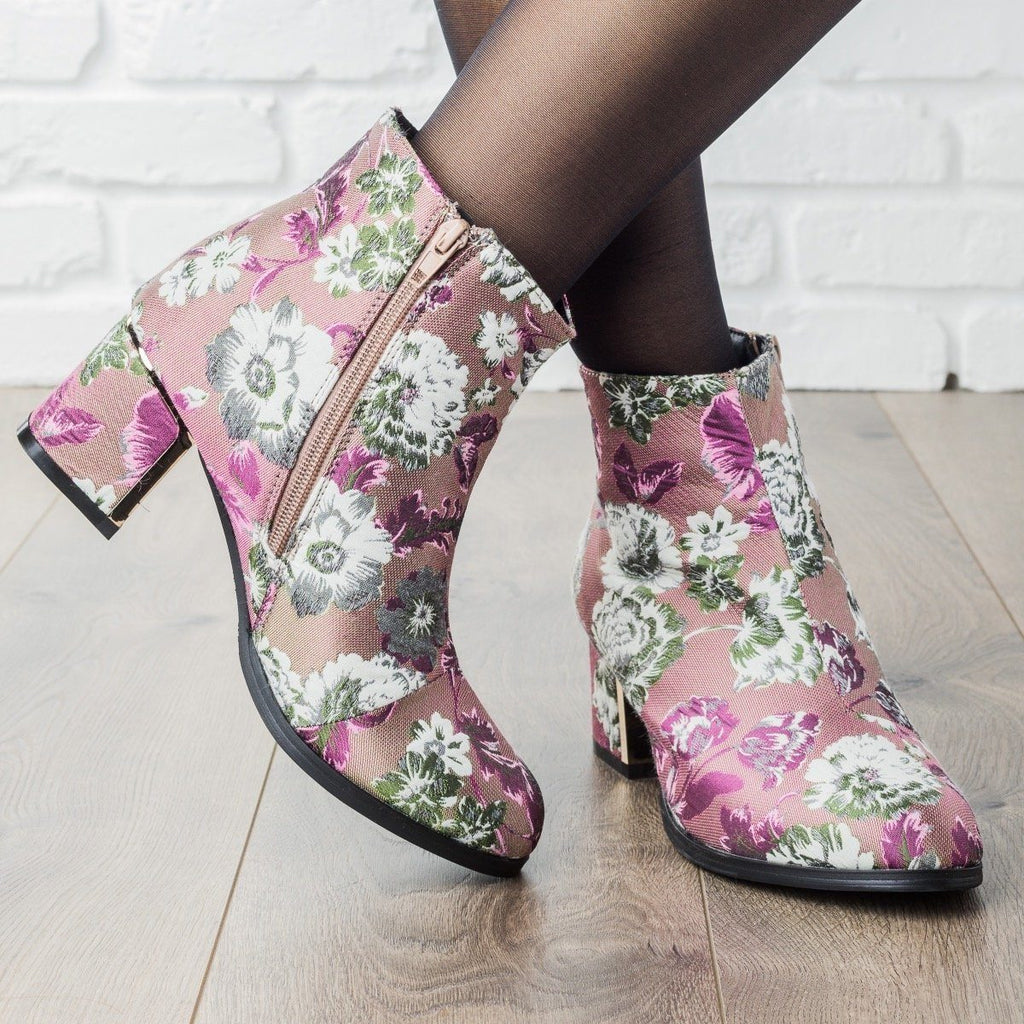 Womens Statement Chunky Heel Booties - Qupid Shoes - Mauve Multi / 5