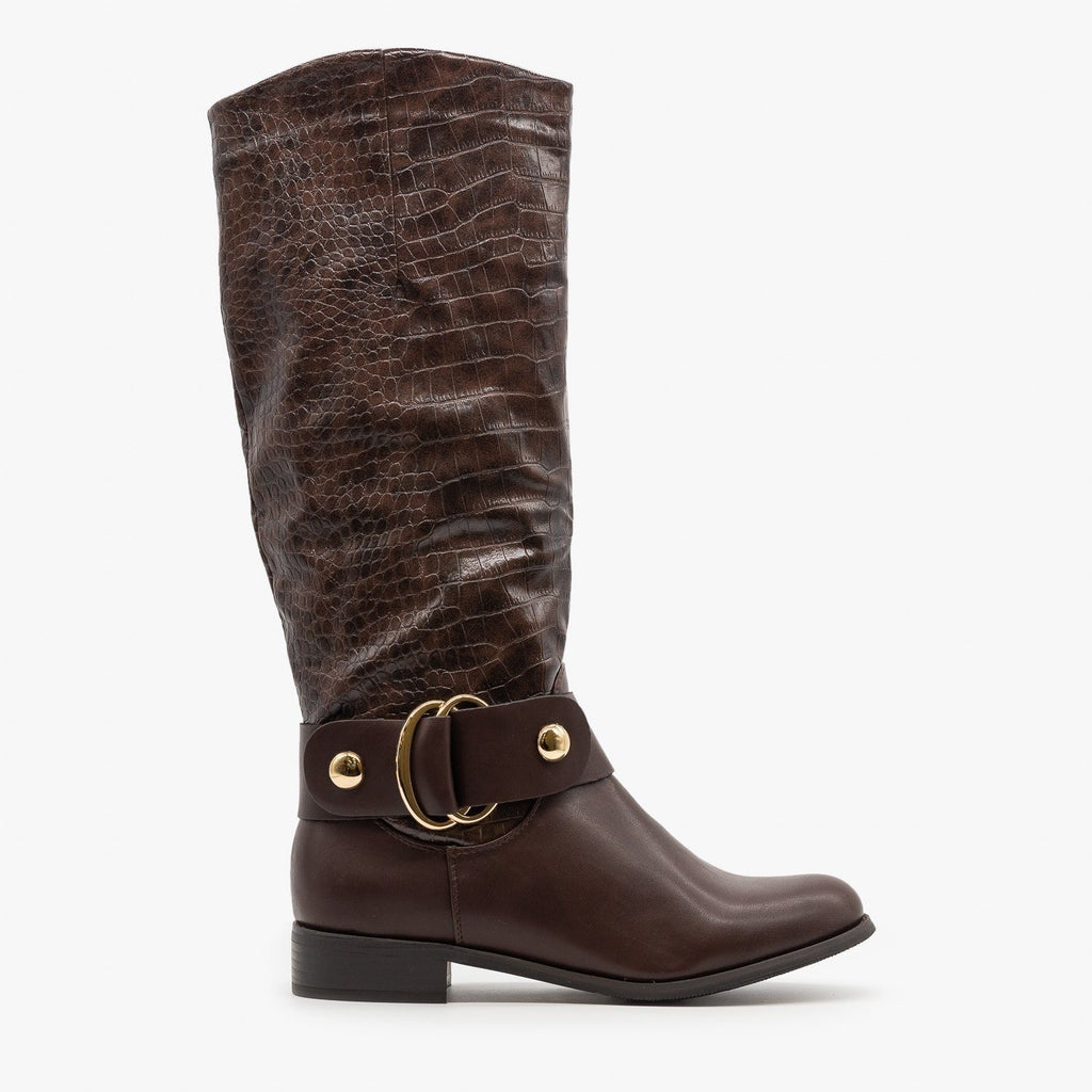 Womens Statement Crocodile Riding Boots - Reneeze Shoes - Brown / 5