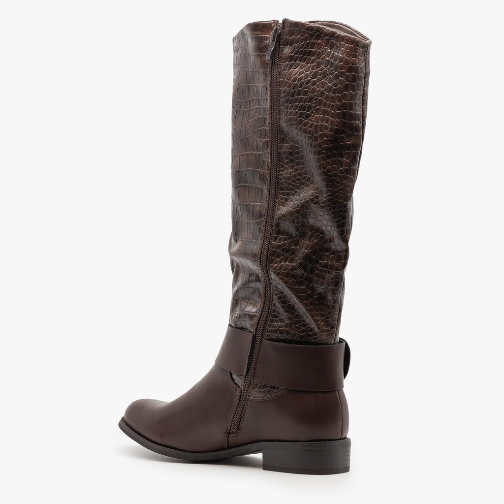Womens Statement Crocodile Riding Boots - Reneeze Shoes
