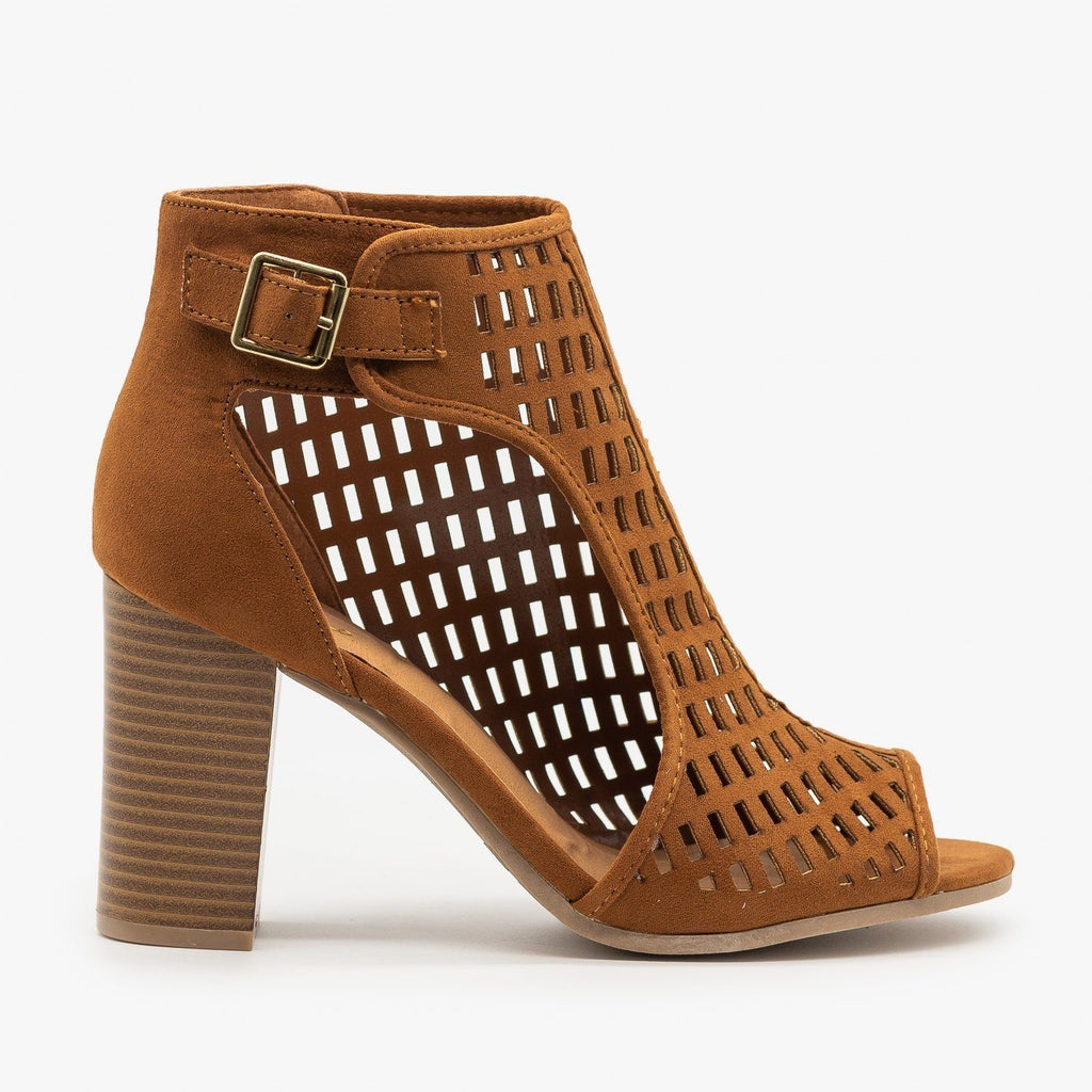 Womens Statement Cutout Heels - Qupid Shoes - Chestnut / 5