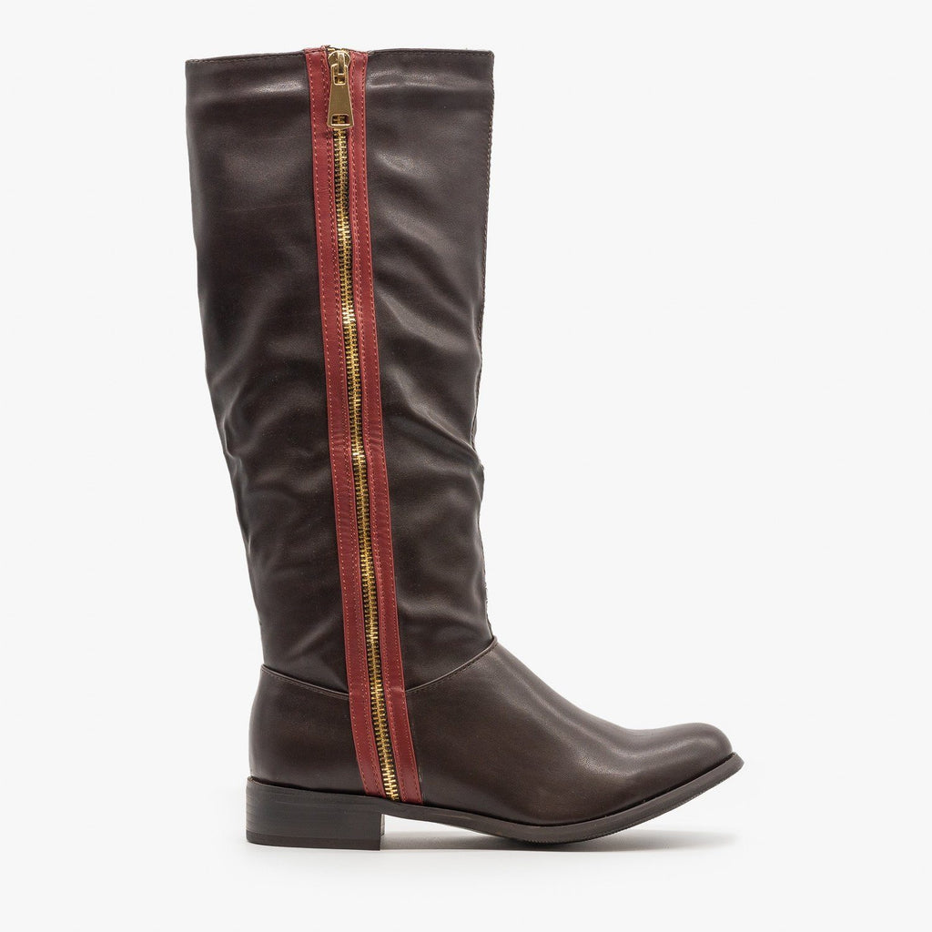 Womens Statement Zipper Riding Boots - Reneeze Shoes - Brown / 5