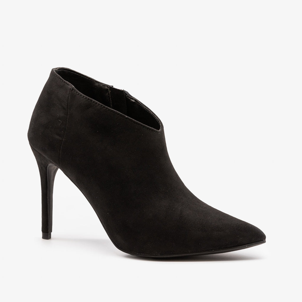 Womens Stiletto Ankle Booties - Anne Michelle - Black / 5