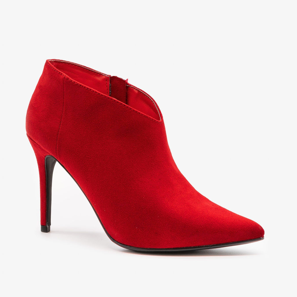 Womens Stiletto Ankle Booties - Anne Michelle - Red / 5