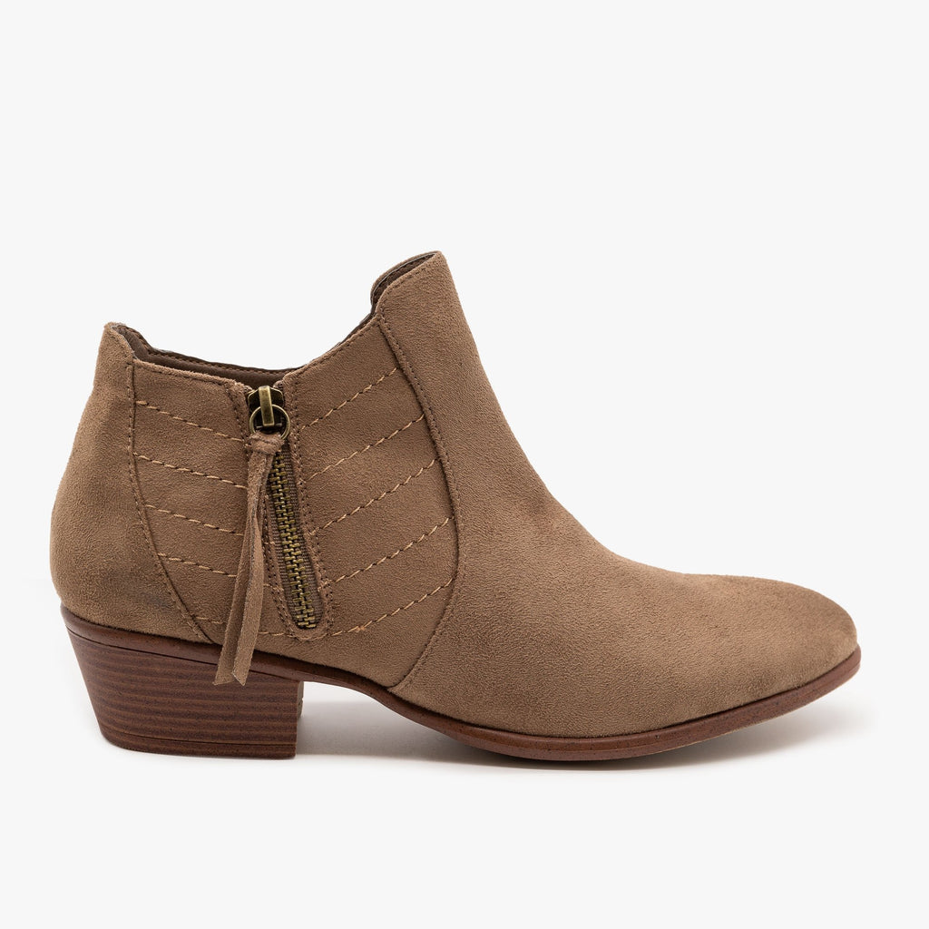 Womens Stitch Accented Fall Booties - Wild Diva Shoes - Taupe / 5