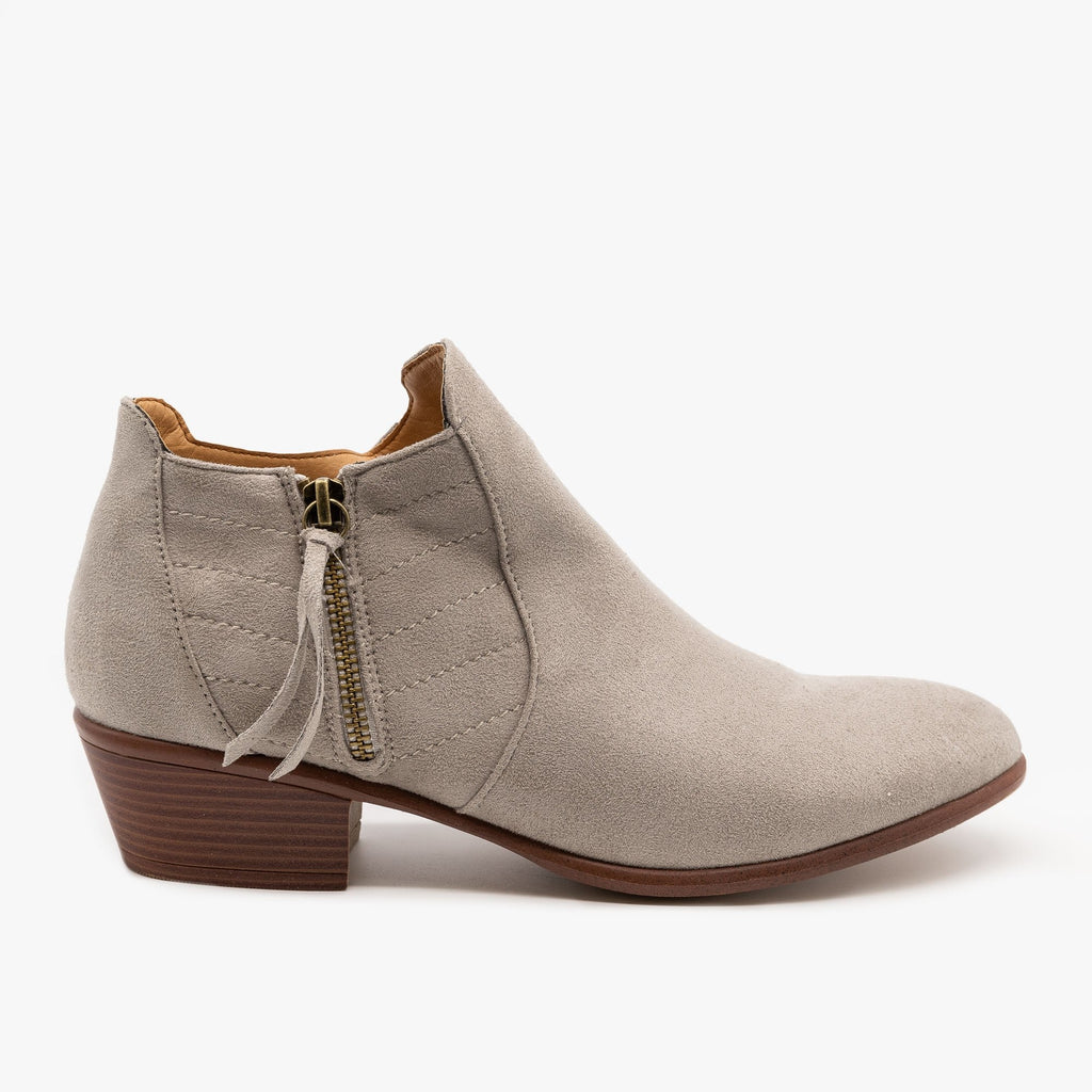 Womens Stitch Accented Fall Booties - Wild Diva Shoes - Light Gray / 5