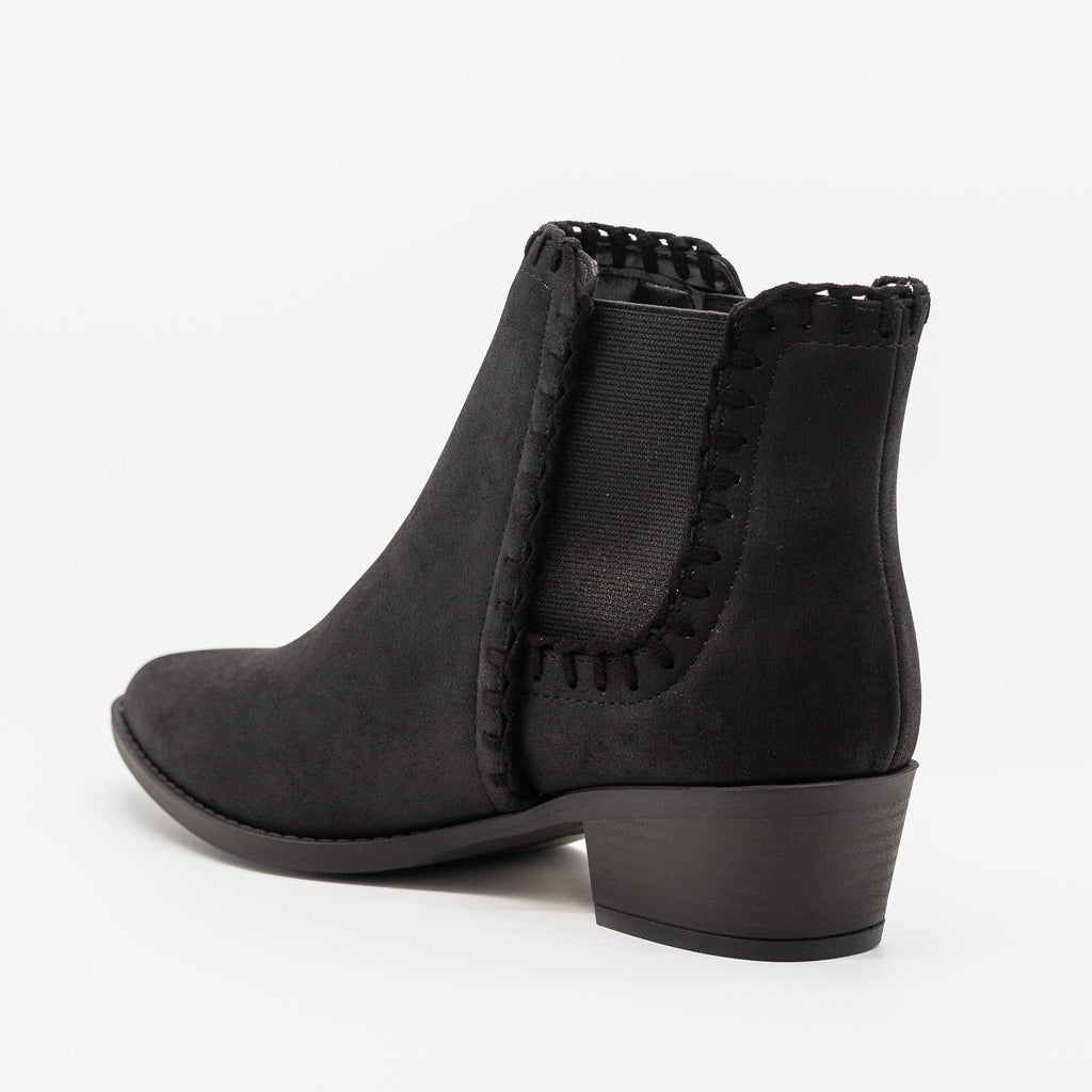 Womens Stitched Chelsea Booties - Soda Shoes