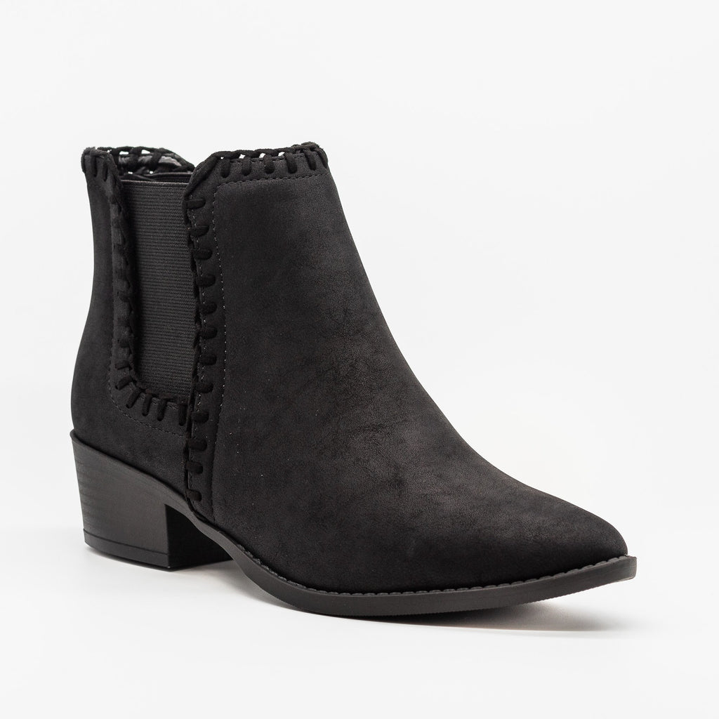 Womens Stitched Chelsea Booties - Soda Shoes - Black / 5