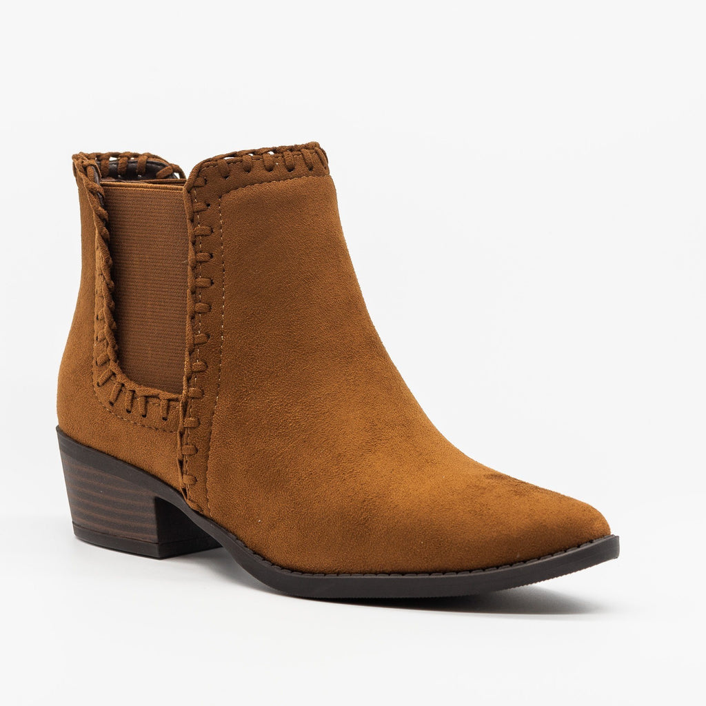 Womens Stitched Chelsea Booties - Soda Shoes - Chestnut / 5