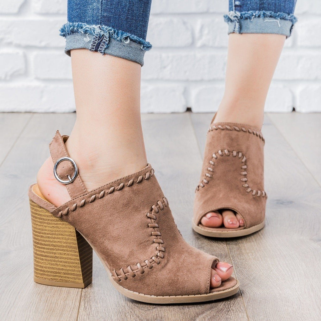 Womens Stitched Chunky Heel Mules - Qupid Shoes