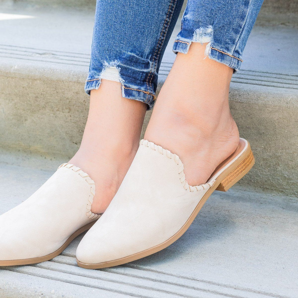 Womens Stitched Faux Nubuck Mules - Qupid Shoes - Stone / 5