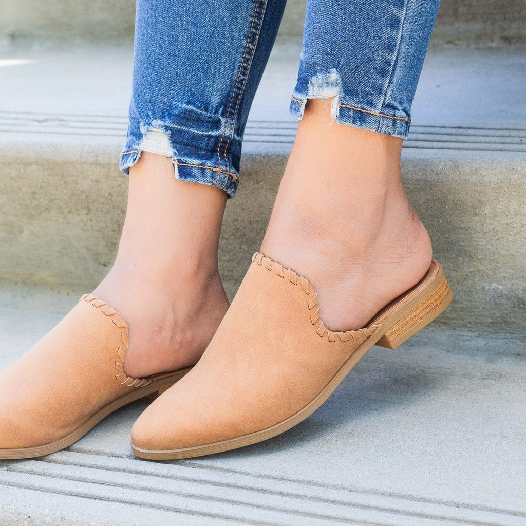 Womens Stitched Faux Nubuck Mules - Qupid Shoes - Camel / 7.5