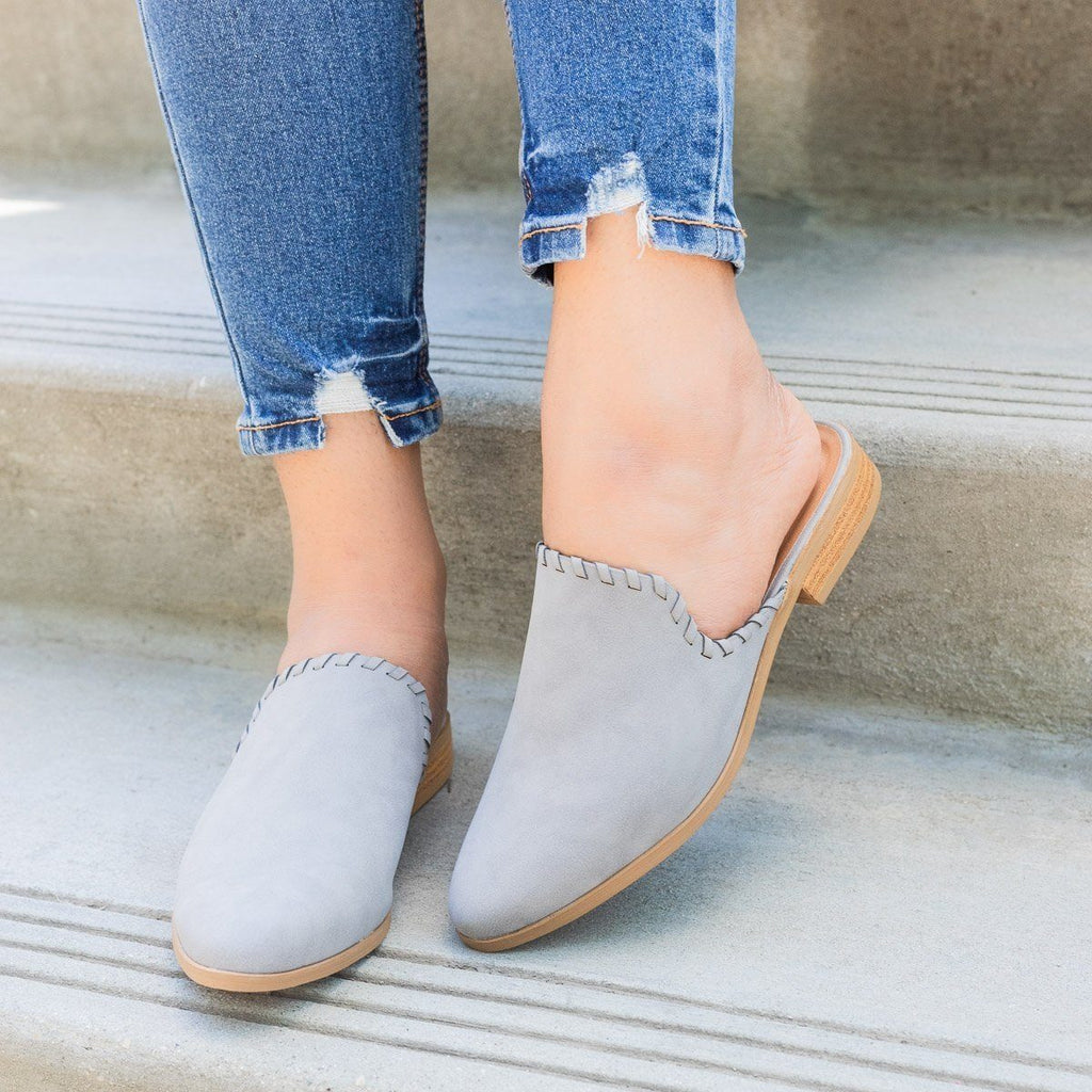 Womens Stitched Faux Nubuck Mules - Qupid Shoes