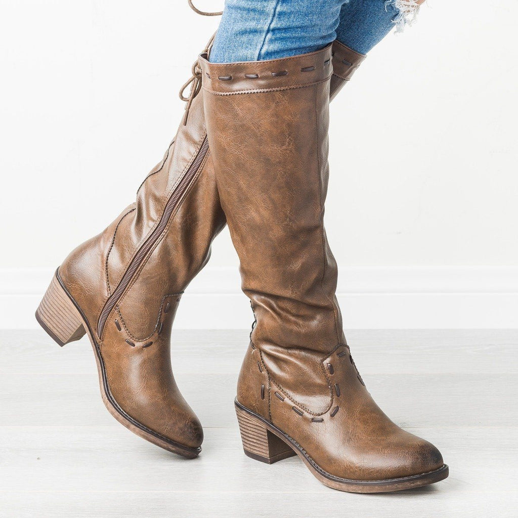 Womens Stitched Lace-Up Boots - Mata - Brown / 5