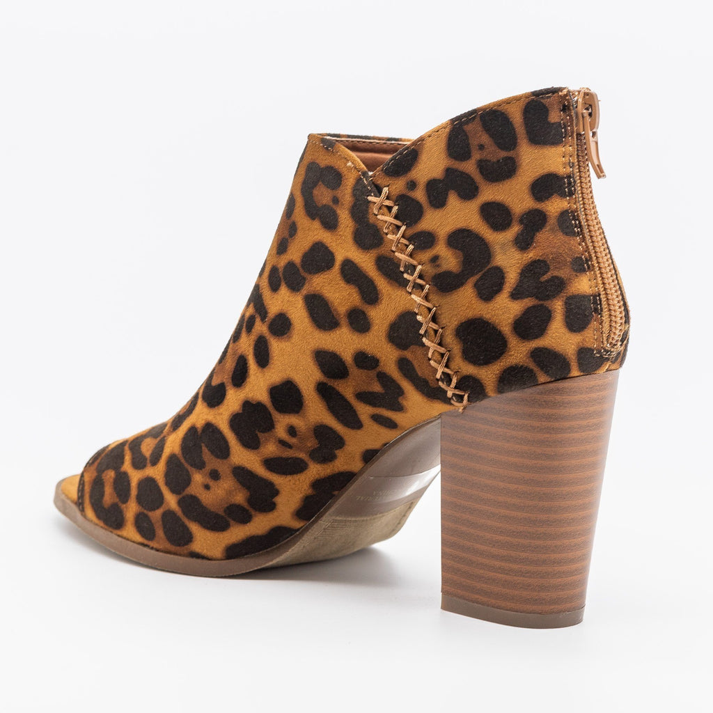 Womens Stitched Open-Toe Ankle Booties - Refresh