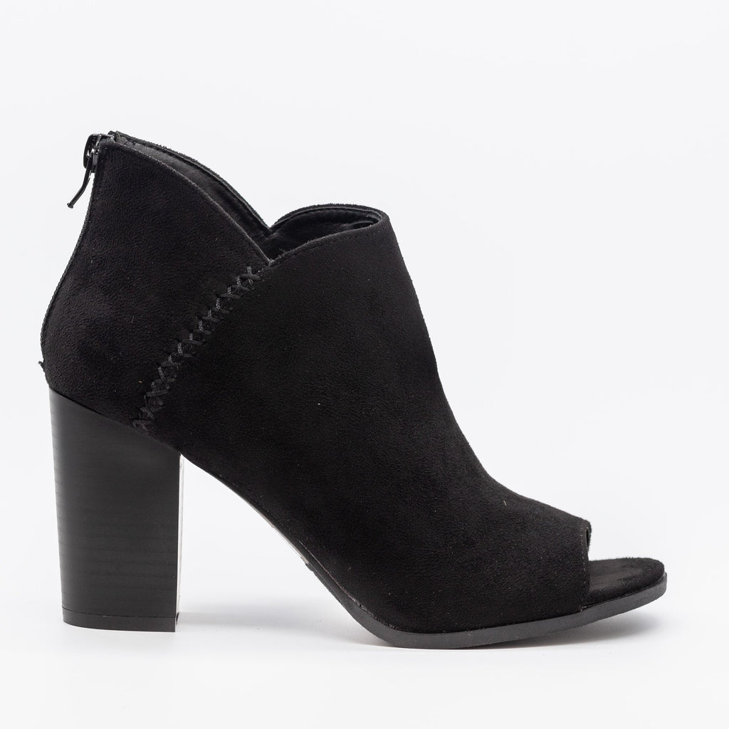 Womens Stitched Open-Toe Ankle Booties - Refresh - Black / 8