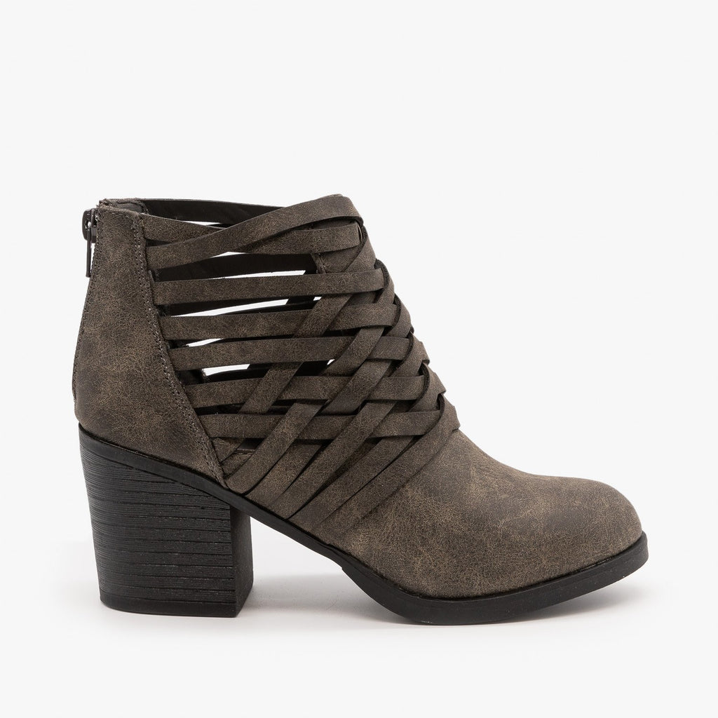 Womens Stitched Side Cut-Out Booties - Bamboo Shoes - Gray / 5